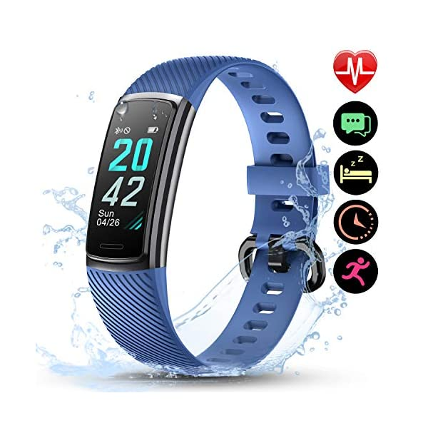 LETSCOM High End Fitness Trackers HR, IP68 Reloj de fitness impermeable con monitor de ritmo cardíaco, contador de pasos… 1