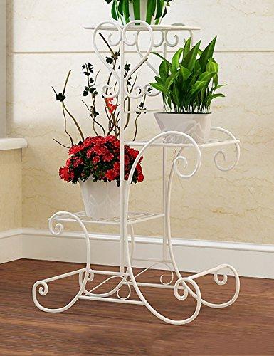 LHP huajia Fleur De Fer Rack Balcon Intérieur Et Extérieur Salon De Pot De Fleur Fleur Rack Blanc