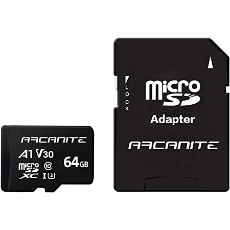 ARCANITE AKV30A164 64GB microSDXC Memory Card with Adapter - A1, UHS-I U3, V30, 4K, C10, Micro SD, Optimal read speeds up to 90 MB/s