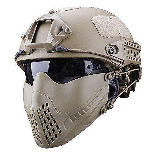 MEYLEE Half Face Lower Mask Taktische Netzmaske, Kann mit schnellem Helm, UV-Schutzbrillen-Kombinationsset, Für Airsoft Paintball Jagdschießen CS verwendet Werden,Tan