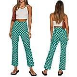Women's Checkerboard Print Skinny Pants,High Waist Plaid Printed Slim Fit Flare Pants Y2K E-Girls Stretch Trousers (Green, Medium)