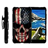 TurtleArmor | Compatible with ZTE Imperial Max Case | Max Duo Case | Kirk [Octo Guard] Dual Layer Case Holster Belt Clip Kickstand Cover - US Flag Skull