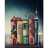 1000 piezas puzzle para adultos libro casa stree knowledge tower juego familiar dormitorio estudio decoración rojo azul