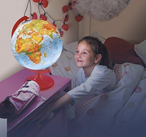 KR 2562 Kinderleuchtglobus: Globus für Kinder, 25 cm Durchm., Kartografie mit Abbildungen, rotes Kunststoffgestell