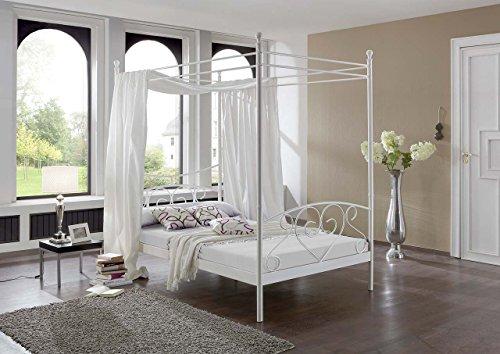 lifestyle4living Himmelbett 120x200, Weiß mit Federkern Matratze, Lattenrahmen, Kopfteil und Fußteil | Metallbett in Schmiedeoptik für einen romantischen Schlaf