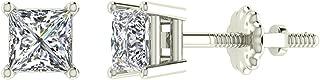 Princess Cut Diamond Earrings 14K Gold Studs Natural Earth-mined Diamonds (I,I1)