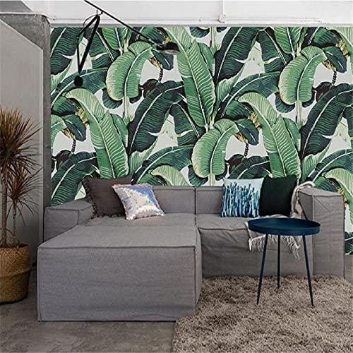 BLZQA Fotomurales Papel pintado tejido no tejido Murales moderna Pintura al óleo hojas verdes Arte de la pared Decoración de Pared decorativos 250x175 cm-5 panelen