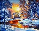 Pintura por número paisaje de bosque de nieve pintado a mano arte de pared pintura por números Kits de río de invierno regalos únicos A2 40x50cm