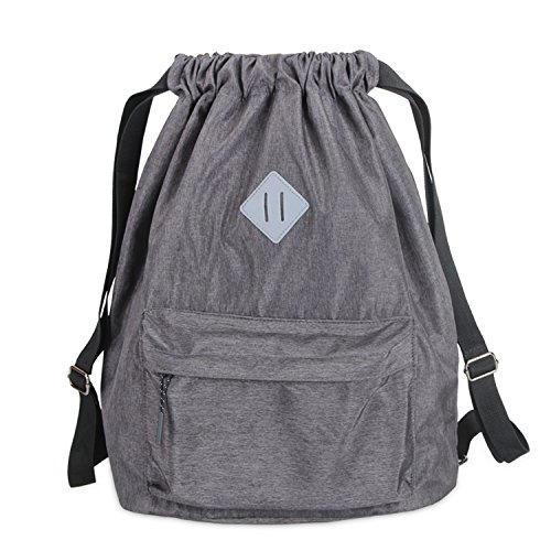 Luxja Water- resistant drawstring bags, Travel drawstring backpack bag, drawstring gym bag, sports bag for Sport and School, Travel for Men, Women and Student, Grey