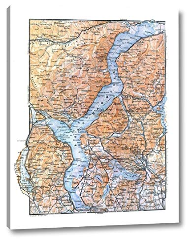 """Lake Maggiore Italy - Baedeker 1921 by Baedeker - 9"""" x 12"""" Canvas Art Print Gallery Wrapped - Ready to Hang"""