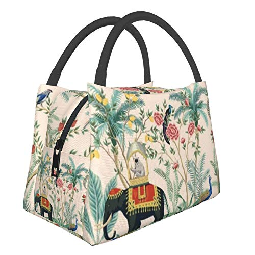 Bolsa de almuerzo portátil con aislamiento fresco (Palmera floral india vintage) 8.5L