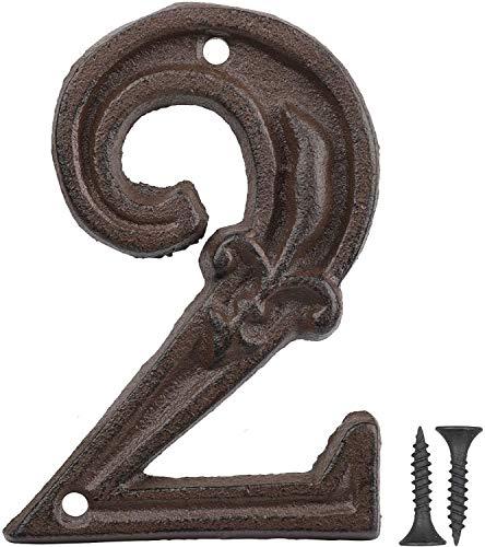 Vandicka Números de forja para indicar la numeración de las casas, puertas y calles, color marrón envejecido, acabado óxido con estampado de flor de lis, 12 cm, 2