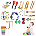 Luccase 19 PCS Musical Instruments Toys Set for Kids Wooden Percussion Instrument Tambourine Castanets More for Toddlers Boys Girls Children from Luccase