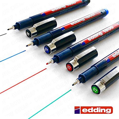 Edding 1800 Profipen Delineador con Pigmento Rotulador de Dibujo - 0.7mm Juego de 4 - Negro, Azul, Rojo, y Verde]