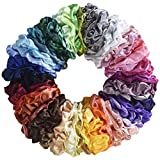 Mcupper 62 Pcs Hair Silk Scrunchies Satin Elastic Hair Bands Scrunchy Hair Ties Ropes Scrunchie for Women Girls Hair Accessories - 62 Assorted Colors Scrunchies (62 PCS)