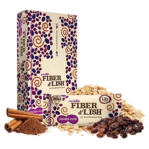 NuGO Fiber d'Lish Cinnamon Raisin, 12g High Fiber, Vegan, 150 Calories, 16 Count