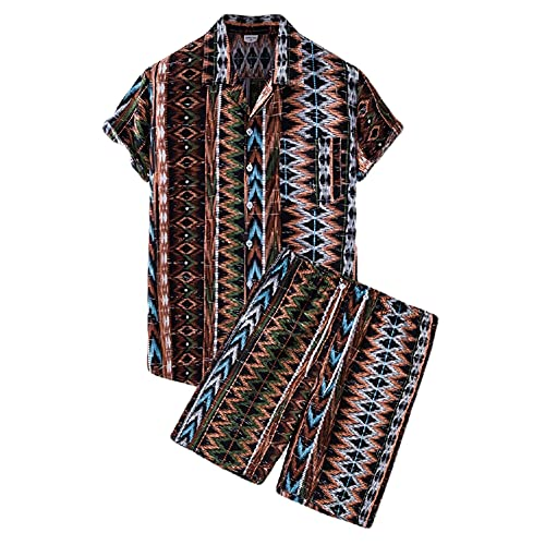Conjunto Camisa Hombre Vacaciones Verano Pantalones Cortos y Manga Corta Hombre Conjunto 2 Piezas Estampado Moda Contraste Color Camisa Hawaii Hombre Camisa Casual Playa