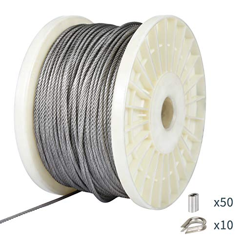 Ubilink 1/8 316 Stainless Steel Wire DIY Aircraft Cable for Deck Railing Kits, Picture Hanging, Clothes Line,7x7 Construction with 50 Aluminum Crimping Sleeves and 10 Stainless Steel Thimble (300ft)