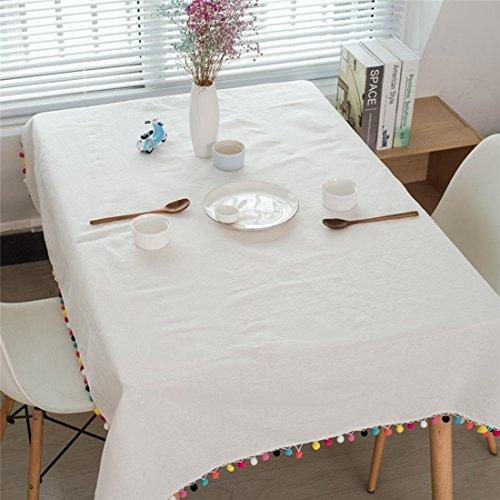 KQS-XYT Tassel Nappe Coton Lin Nappe la Table à Dîner Familiale Café Restaurant Party Décoration de Bureau Blanc , 140*200CM