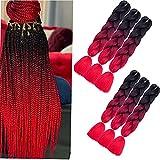6 paquetes de extensiones de pelo trenzado jumbo de 64 cm, trenzas largas jumbo para trenzas de ganchillo, de fibra sintética, resistente a altas temperaturas (color negro/rojo vino/rojo)