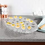 KEEP EGGS CHILLED- The stainless-steel deviled egg tray is a convenient way to serve chilled deviled eggs at your next party! With a cooling compartment for ice, and an egg tray that holds 24 halves, your eggs will stay fresh and cold for hours. MULT...