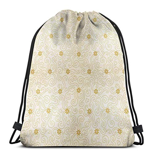 Printed Drawstring Backpacks Bags,Ornamental Pattern With Tiny Flowers And Dotted Curves Abstract Nature,Adjustable String Closure