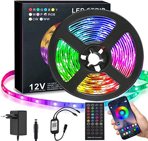 LED Strip 5m RGB LED Streifen Lichtband SMD 5050 Leds mit Netzteil, APP-Steuerung,Fernbedienung, LED Beleuchtung Leiste mit Musik für Zuhause, Schlafzimmer