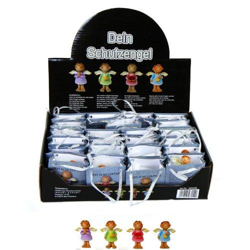 Annastore 24 x Kleine Schutzengel in Tüte 4-farbig Sortiert - Gastgeschenk - Figur - Glücksbringer - Kleine Engel - Geschenk für Gäste