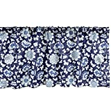 Ambesonne Floral Window Valance, Traditional Chinese Porcelain Motif Inspired Flower Design, Curtain Valance for Kitchen Bedroom Decor with Rod Pocket, 54' X 12', Cobalt Blue