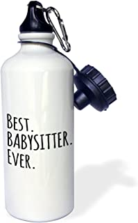 3dRose wb_151476_1 Best Babysitter Ever-Child-Minder Gifts-a Way To Say Thank You for Looking After The Kids Sports Water Bottle,  21 oz,  White