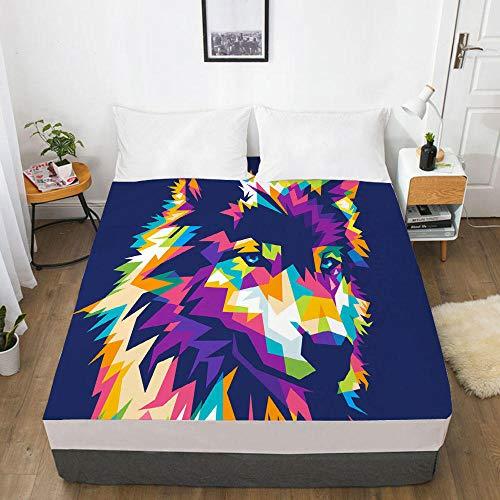 lhmlyl Sábana Bajera Hoja de la Cubierta del Protector del colchón de la impresión Digital 3D 1pcs Colorida-Colorfull 005-White-F_El 137x190x40cm