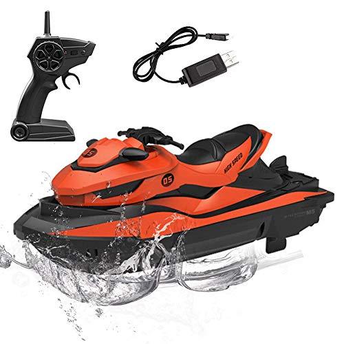 azurely Ferngesteuertes Boot für Kinder, 2.4G Ferngesteuertes Jetski Hochgeschwindigkeit Schnellboot Kinder RC-Boot Wasserspielzeug für Pools und Seen