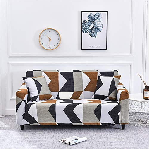 Oduo Stretch Sofabezug mit Armlehnen 1 2 3 4 Sitzer, Unregelmäßige Geometrie Druck Sofaüberwürfe Passend für Ecksofa L Form Sofa/Couchbezug/Sesselbezug/Sofahusse...