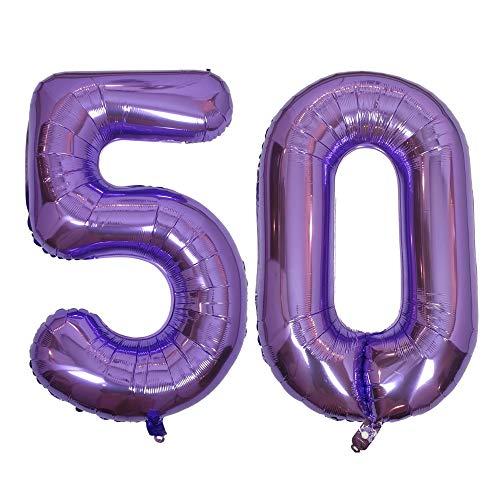 DIWULI, gigantescos Globos de número XXL, número 50, Globos púrpura Lila, número de Globos, Globos de Papel de Aluminio años, Globos Gigante Grande de Aluminio 50° cumpleaños, decoración, Fiesta