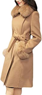 Macondoo Women Winter Double Breasted Thick Faux Fur Collar Long Jacket Coat