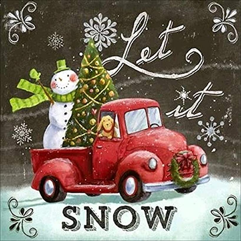 Let is Snow Christmas Diamond Painting - PigBoss Full Diamond Embroidery Arts Crafts Cross Stitch Kits - Christmas Tree Snowman Car Diamond Painting Decor for Adults (11.8 x 11.8 inches)