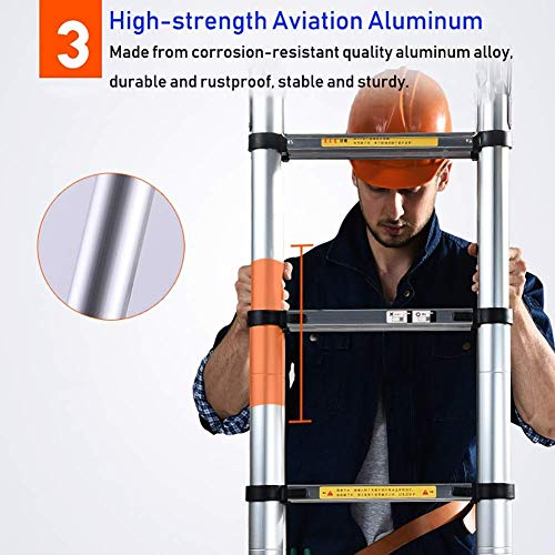 LADDERS Ladder Telescopic Ladders,Heavy Duty Aextension Ladder, Portable Multi Purpose Engineering Telescoping Ladder for Cargo Loft, 330Lbs Capacity,1.7M/5.6Ft