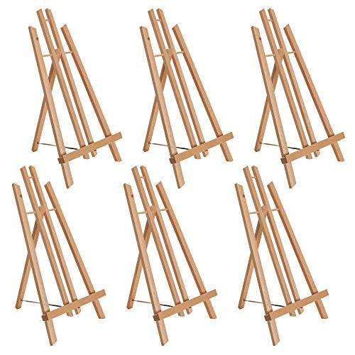"""U.S. Art Supply 18"""" Large Tabletop Display Stand A-Frame Artist Easel (Pack of 6) - Beechwood Tripod, Painting Party Easel, Kids Student Table School Desktop, Portable Canvas Photo Picture Sign Holder"""