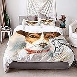 KIMDFACE Funda Edredón,atercolor Perro Jack Russell Terrier Retrato,Ropa de Cama Funda Nórdica,1(140x200cm)+2(50x80cm)