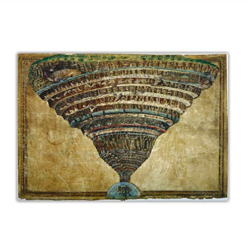 suuyar Citon Sandro Botticelli O Mapa do Inferno, Abismo do Inferno, Pintura a Óleo em Tela, Decoração de Parede, 60 x 80 cm, Sem Moldura