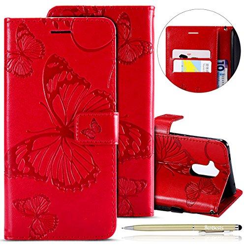 Herbests Kompatibel mit Huawei Honor 6C Hülle Leder Tasche Flip Wallet Cover Handyhülle Schmetterling Handytasche PU Leder Ledercase Bookcase Ständer Kartenfächer, Rot
