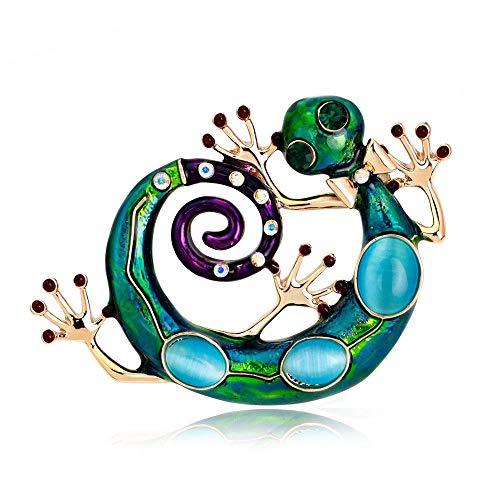 Idin Jewellery - Broche de salamandra de cristal esmaltado azul y verde