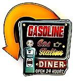 DiiliHiiri Cartel Vintage Letrero metálico Luminoso Artesanías Accesorios Decoración Hogar (Gasoline)