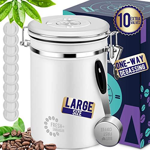 SAMBANGAN Kaffeedose Luftdicht Kaffeedosen Kaffebohnen Behälter Vorratsdosen (Matt Weiß)