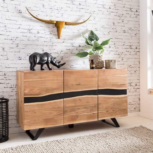 WOHNLING Sideboard SATARA 148 x 85 x 43 cm Massiv-Holz Akazie Natur Baumkante Anrichte | Landhaus-Stil Highboard mit 3 Türen | Flur Schrank Kommode