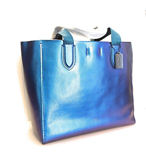 COACH LARGE DERBY HOLOGRAM METALLIC PEBBLE LEATHER TOTE F59388