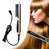 HECLOUD Professional Pressing Comb for Women,Negative Ion 0 Damage Straight Hair Brush,PTC Ceramic Heating,6 Gear,One Pass,Automatic Shut Off, Portable Size for Well at Home, School, and Travel