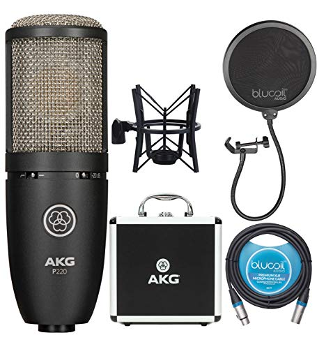 AKG P220 Large-Diaphragm Condenser Microphone for Vocal Recording Bundle with Blucoil Pop Filter Windscreen, and 10-FT Balanced XLR Cable
