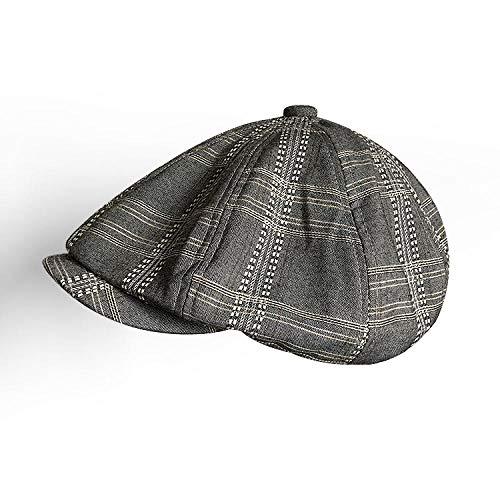 MAOZIm Octagon Hat Boina Retro de Verano para Hombre, Sombrero de Vendedor de periódicos, Lino de Primavera y Verano, sección Delgada, Sombra Transpirable, Sombrero Octogonal