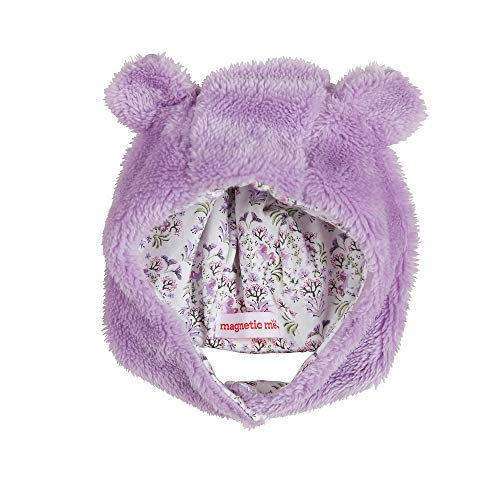 Magnetic Me Baby Winter Hat with Magnet Close Chin Strap and Bear Ears So Soft Minky Fleece Lavender Purple 0-6 Months